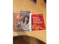 Spanish textbook and dictionary