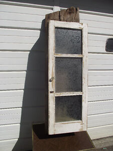 Antique Barn Board 3 Pane Frosted Glass Window Cabinet