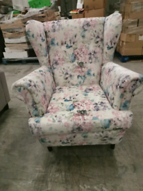 Brand new velour floral wing chair armchair