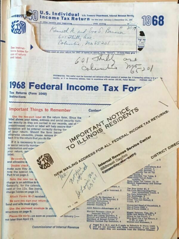 Vintage 1968 Federal Income Tax Forms IRS Publication Booklet + Tax Return