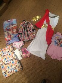 GIRLS MIXED BUNDLE PJS X 3 BAG DRESSING UP.SHOES DISNEY 5/6/7 brentwood £5!