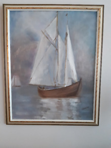 """Original """"Nautical"""" Oil Painting, Gallery Framed"""