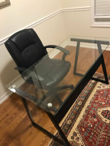$90 Leather chair and Glass study desk