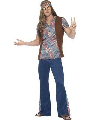 Smiffys Kostüm Hippie 4-tlg. Herren 1960s - Herren 1960 Kostüm