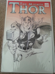 THOR 1 Blank Variant Cover with art drawn by Scott Hanna