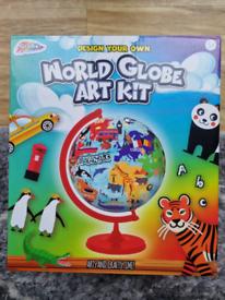 Design/Make Your Own World Globe Art Craft Kit Educational NEW