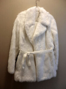 WOMEN'S WHITE FAUX FUR COAT JACKET WITH BELT