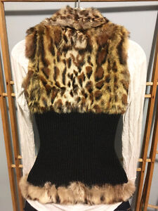 GUESS Leopard Genuine Real RABBIT FUR VEST w/ Leather, Size S London Ontario image 6