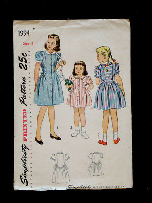 1940's Vintage SIMPLICITY #1994 GIRLS Button-Front DRESS Fashion PATTERN / Sz 3