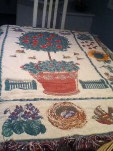 Couverture/Jetté 100% Cotton Image coccinelles fleurs Réversible