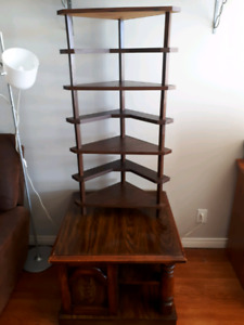 End table with 7 tier display/plant shelf