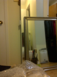 Large beveled boutique vintage mirror 2.5 ft x 3.5 feet Silver./