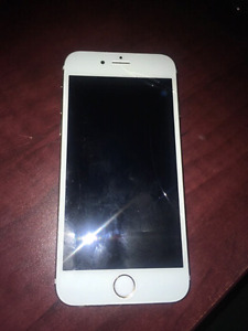Gold iPhone 6s 64 GB, subtle tiny crack on screen