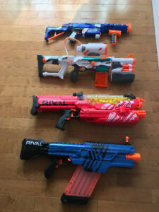 Nerf: 4 awesome guns, battery packs and bullets