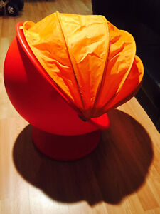 IKEA PS LOMSK Swivel armchair, red and orange