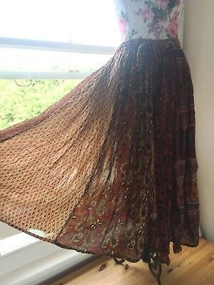 Vintage Indian Hippy Festival Gauze Cotton Hippie Gypsy Boho Skirt Free Size, used for sale  Worthing