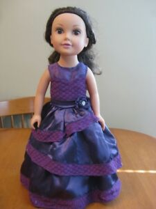 "18"" DOLL JOURNEY GIRL WITH PURPLE DRESS LIKE AMERICAN GIRL"