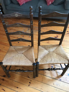 2 Ladder-Back Reproduction Dining Chairs