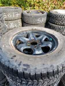 6 bolt Chevy steel rims and blizzack snow tires for sale