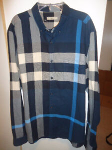 Burberry Brit Blue Check Flannel Shirt, Size L New!