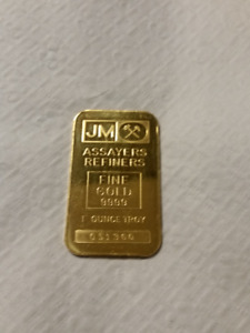 Johnson Matthey (JM) 1 oz. Gold Bar - .9999 Fine Gold