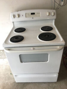 """GE white 30"""" electric freestanding coil stove range oven"""
