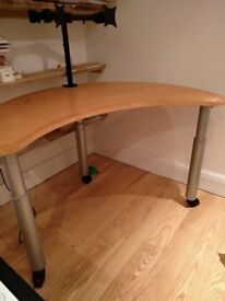Good Quality North Europe Curved Office Table - Adjustable Height
