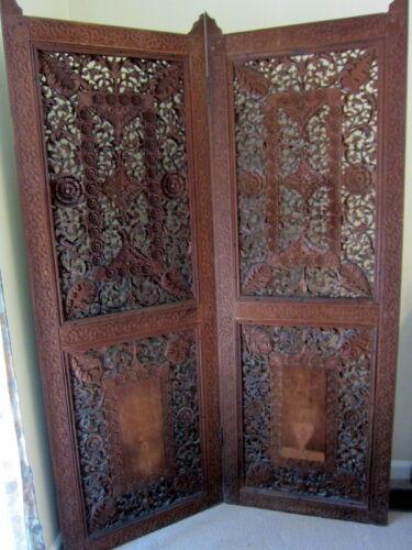 Vintage Carved Teak Wood. 2 Panels Intricately Designed Screen Room Divider