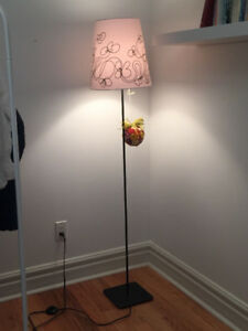 IKEA HEMMA FLOOR LAMP BASE WITH black floral embroidered lamp sh