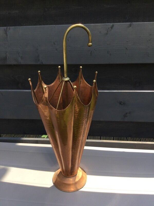 Copper and brass umbrella stand