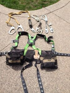 Harness, fall restraint and shock absorber.