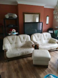 Cream leather sofa set 3 seater 2 seater x2 plus footstool