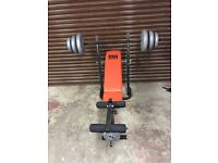 Weight training bench and 50kg weights