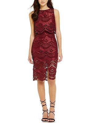 Keepsake True Faith Wine Red Cut Out Lace Midi Knee Dress Wedding XS  6