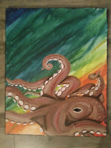 Turtle and Octopus Paintings, each 16x24.