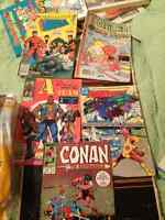 vintage comic books, playboy magazines and movie posters,