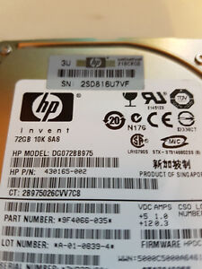 FOR SALE HP HDD 72GB SAS 2.5'' 10K
