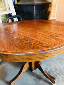 """Round wood table with wheels-42"""" W X 31 1/2 """" H $$Drop"""