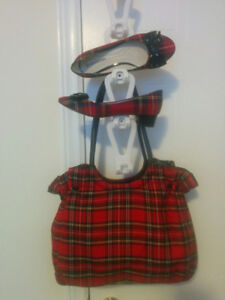 Red Tartan Handbag and matching Shoes (size 6.5 M)