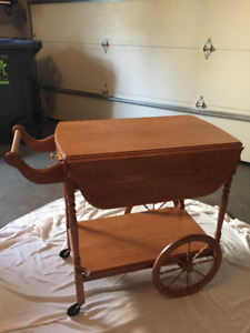 Solid Oak Tea Wagon