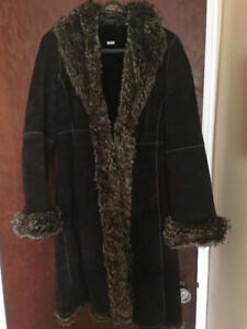 Womens brown  leather and faux fur winter coat