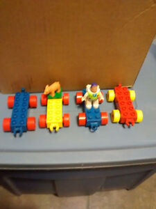 Box of lego with Buzz Lightyear