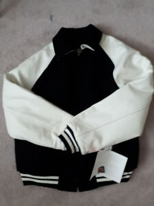 HQ TEAM SPORTS JACKET BLACK WOOL & WHITE LEATHER ARMS NEW W/TAGS
