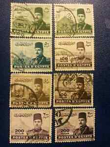 Extremely rare 8 Egyptian Stamps (King Farouk)