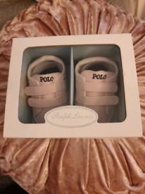 Polo Ralph Lauren pink crib pram bootie trainers