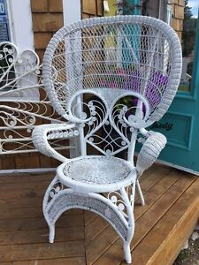 Boho peacock back vintage wicker chair Great photo prop!