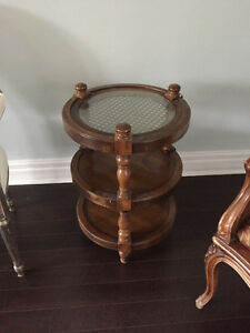 Round wooden tiered side table excellent condition.
