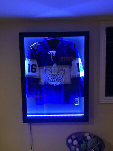 Shadow box jersey frame with LED lights