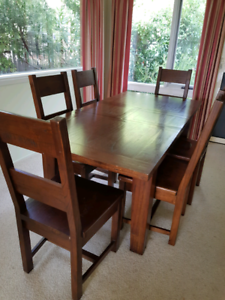 7 piece extendable hardwood table and chairs