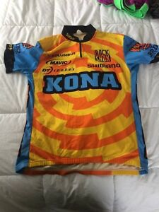 4 cycling jerseys. Kona, Rapha, Mavic, and Pearl Izumi.